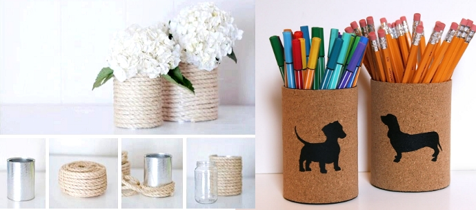 decorate recycled cans with string and cork