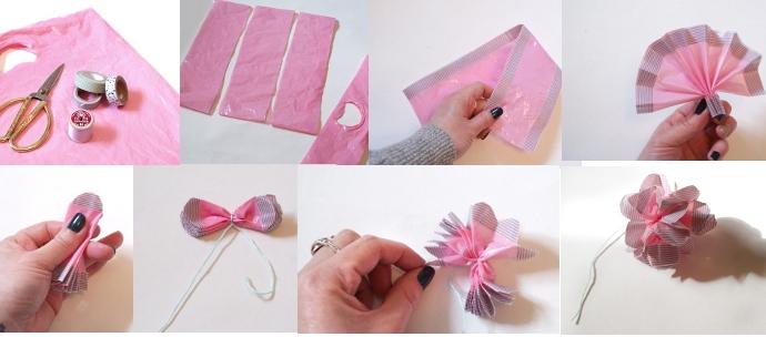Flores con bolsas de plástico y Washi Tape