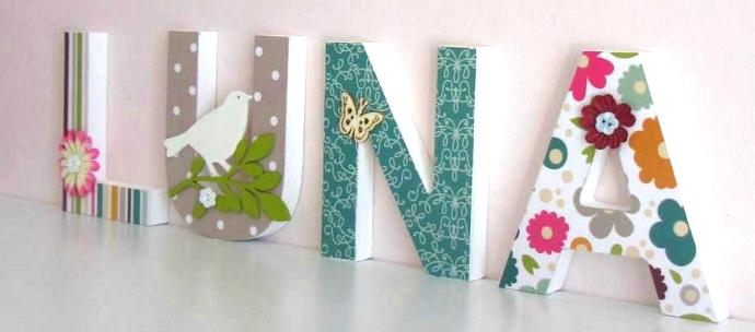 estas letras decorativas son muy bonitas y sirven para cualquier estancia puedes decorarlas de diferentes maneras pintndolas con papel decorativo o con