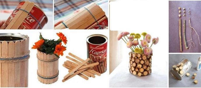 decorate cans recycled wood and chopsticks