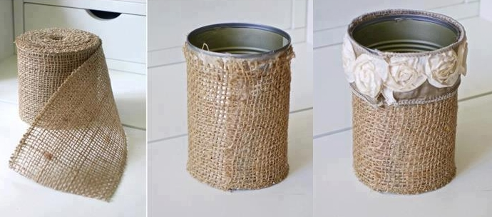 cans decorate with fabric and raffia